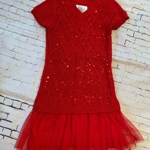 Justice Red Tulle Sweater Dress